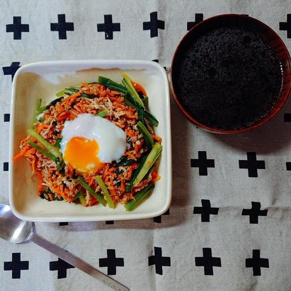 おいしっくすおためしセット:ジューシーそぼろと野菜のビビンバ + 韓国風スープ